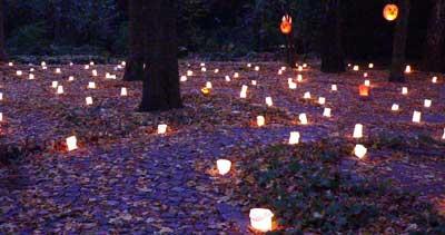 Viele Lichter branten beim Lichterfest im Labyrinth im Stadtpark Hamburg.