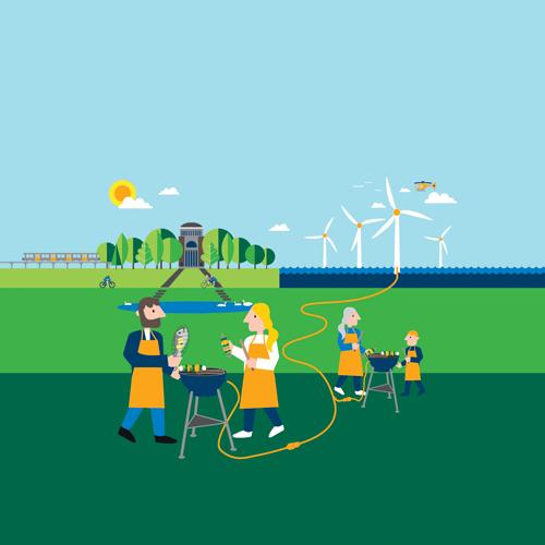 Grafik zum Grillfest im Zeichen der Windkraft der Vattenfall GmbH